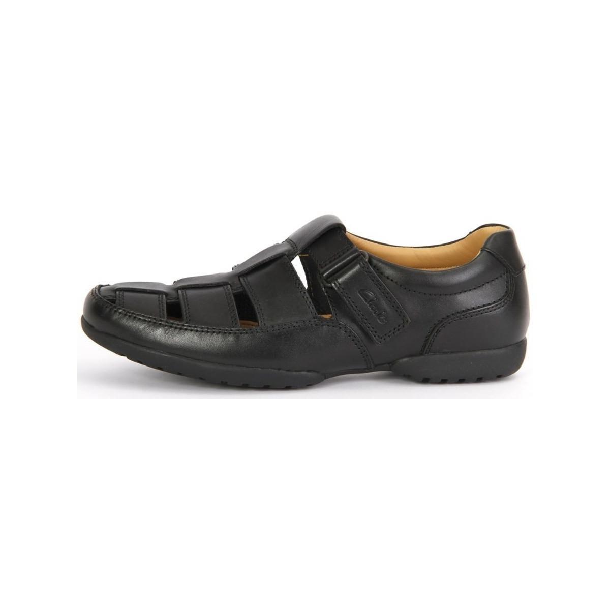 9ddb0ca8e Clarks Recline Open Black Leather Men's Sandals In Black in Black ...