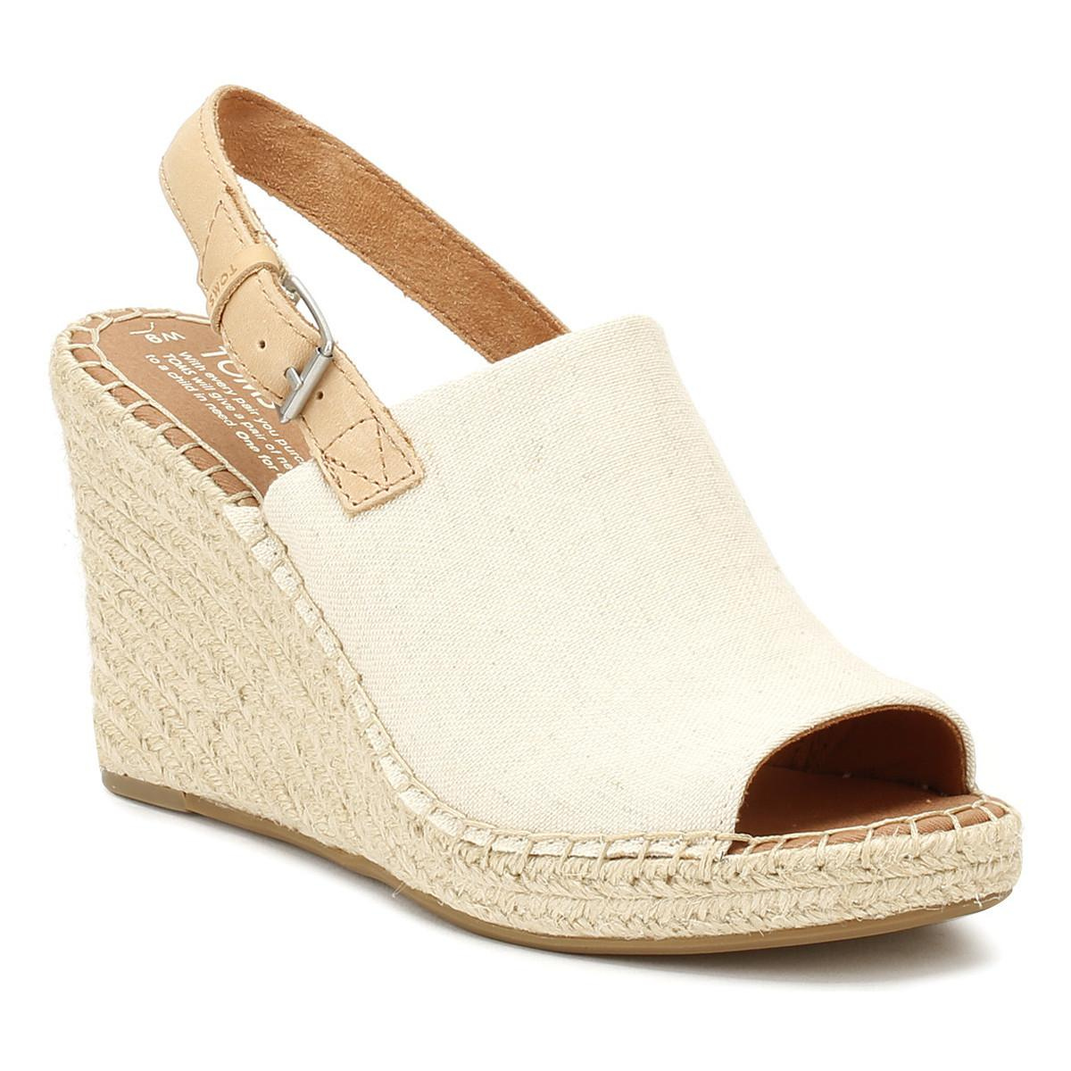 72730b9653f TOMS Womens Natural Hemp Monica Wedges Women s Sandals In Beige in ...