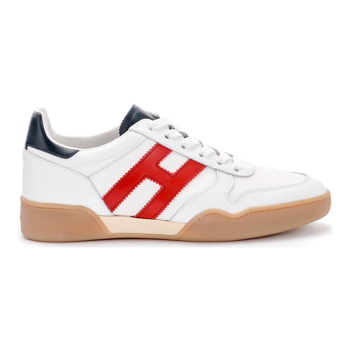 Hogan Sneaker H357 In Pelle E Tessuto Bianco E Rosso Men s Shoes ... 9ce6fb6817c