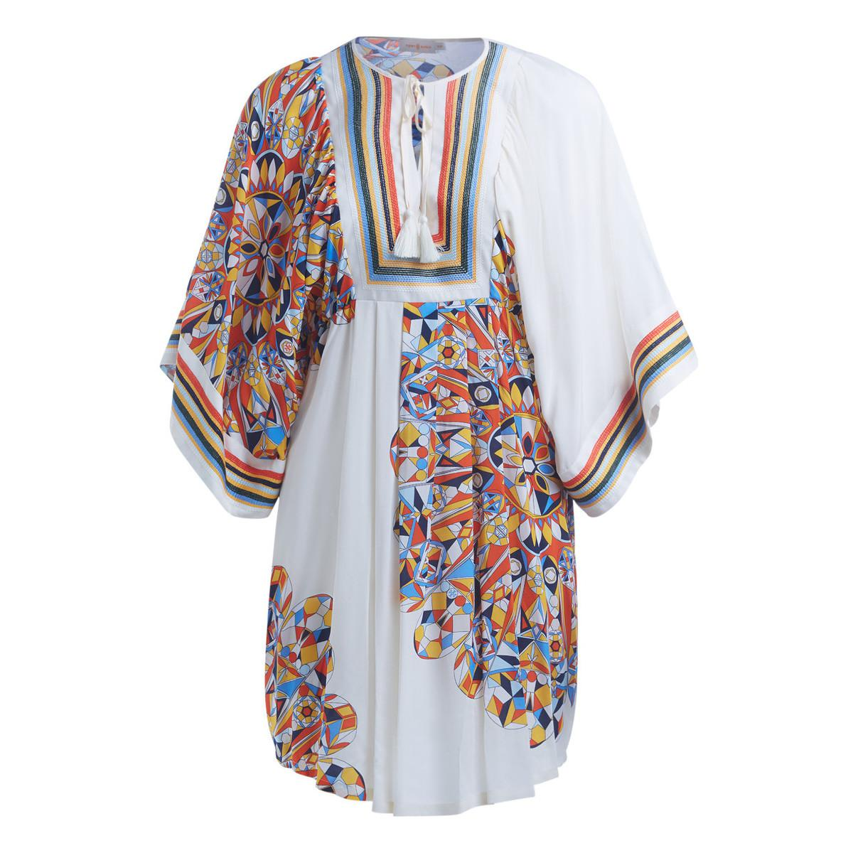 adc490ba7666 Tory Burch Tory Birch Kaleidoscope White Tunic With Multicolor ...