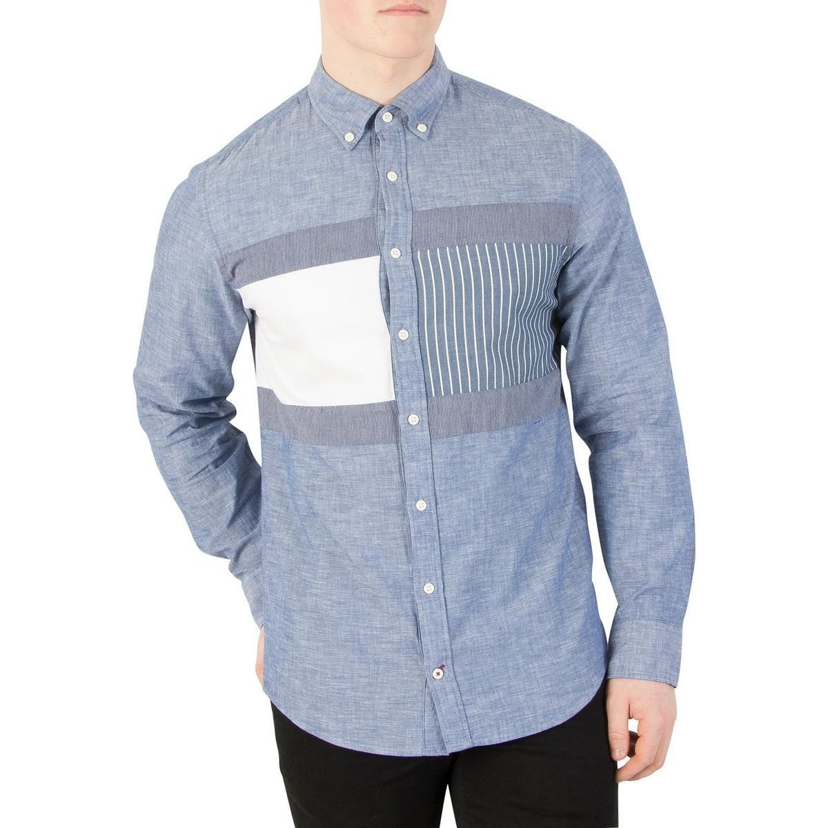 b41457fb704 Tommy Hilfiger Flag Patchwork Long Sleeve Shirt in Blue for Men - Lyst