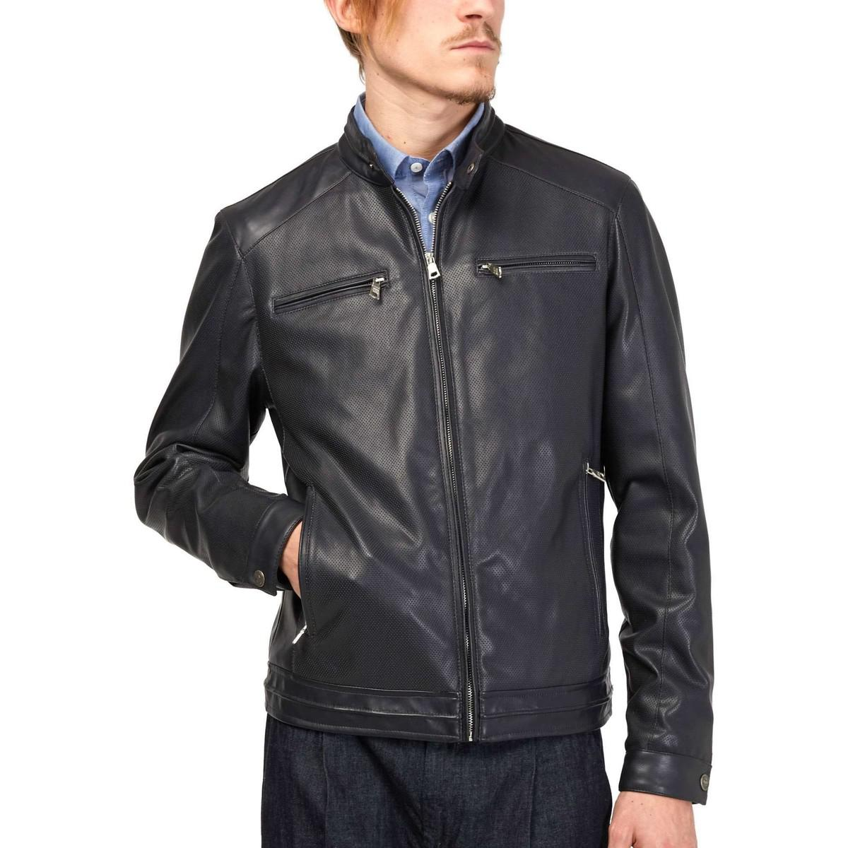 lowest price exquisite craftsmanship replicas 250978 Jacket Man Blue Men's Leather Jacket In Blue