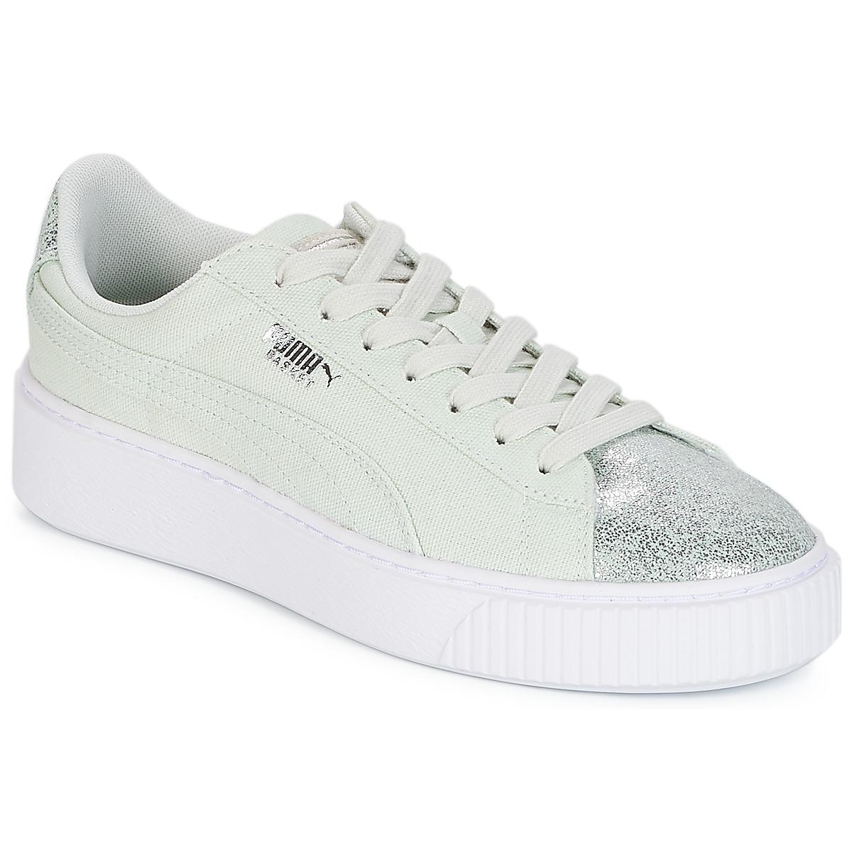 1abbc74e015d PUMA Basket Platform Canvas W s Shoes (trainers) in Green - Lyst