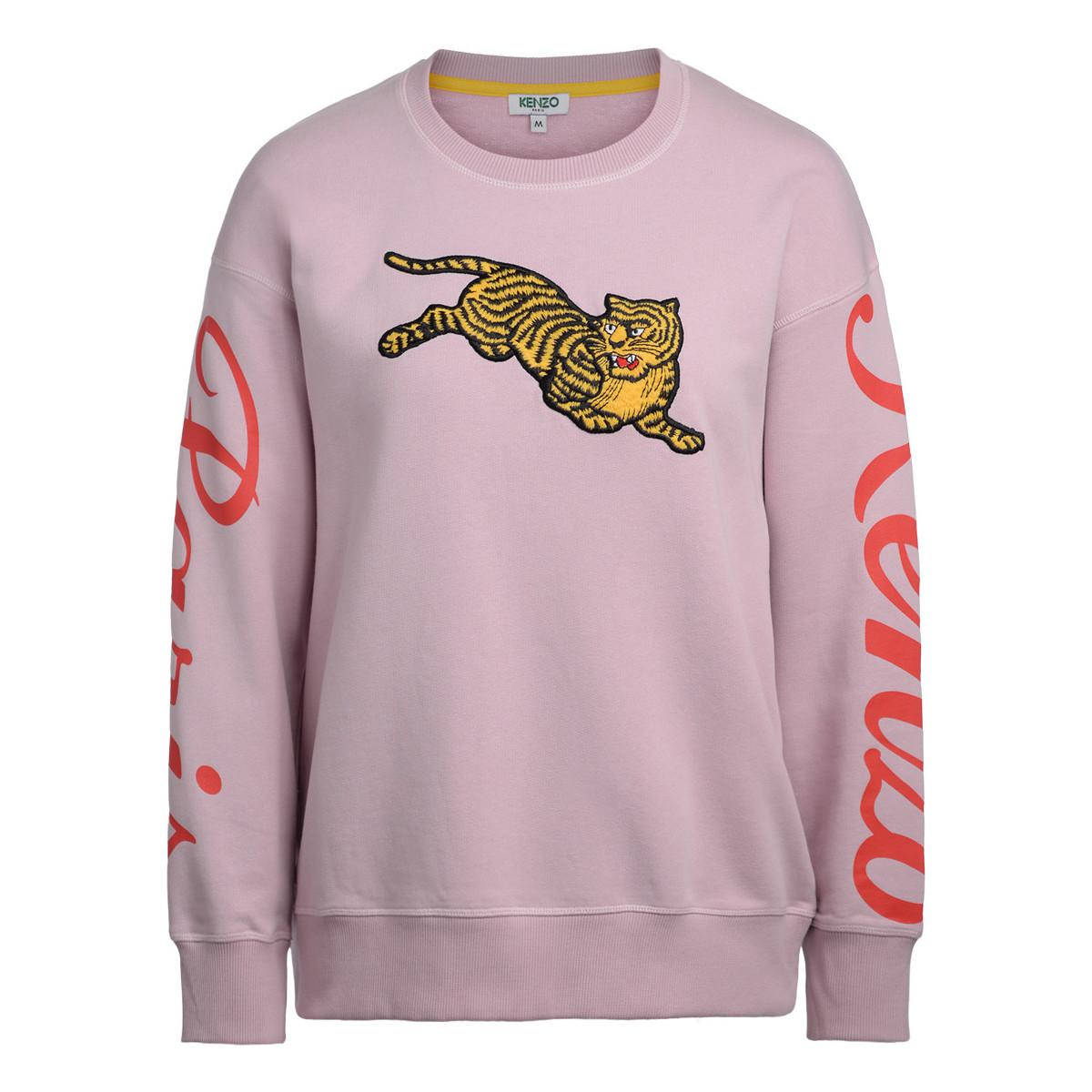 d1300bc75 KENZO Jumping Tiger Pink Fleece With Maxi Patch Men's Sweatshirt In ...