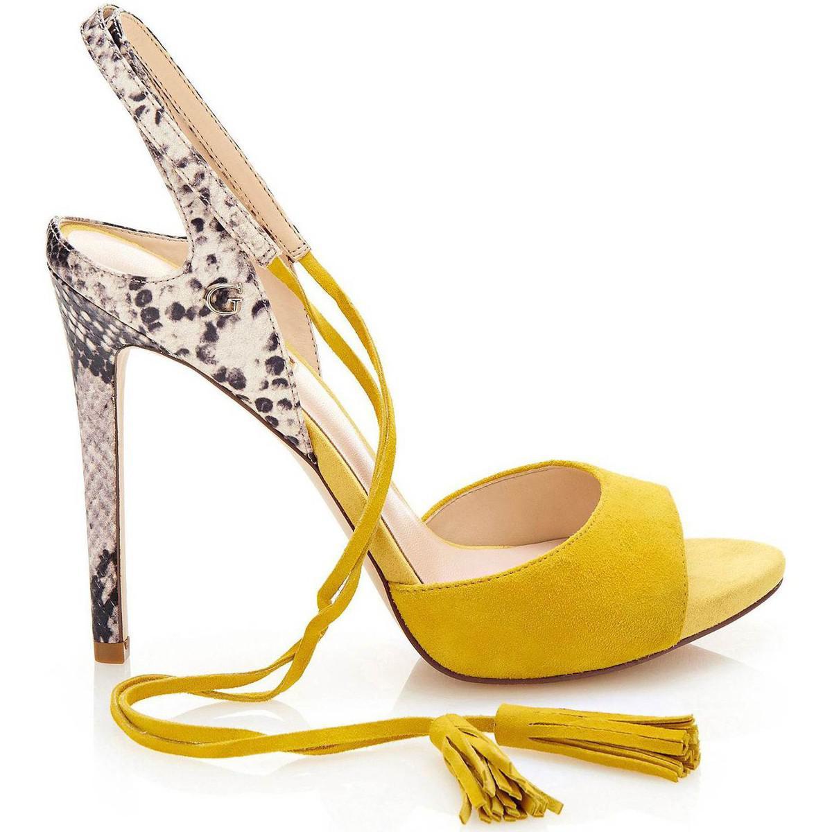 Guess Flaee1 Sue03 High Heeled Sandals Women Yellow Women s Sandals ... 1fdfc164b9
