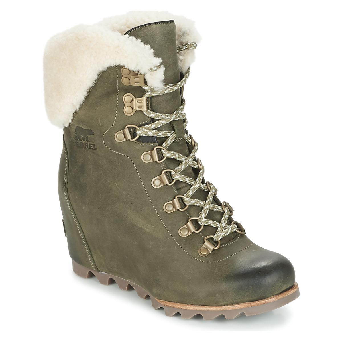 fed49df35a7 Sorel Conquest Wedge Shearling Women s Snow Boots In Green in Green ...