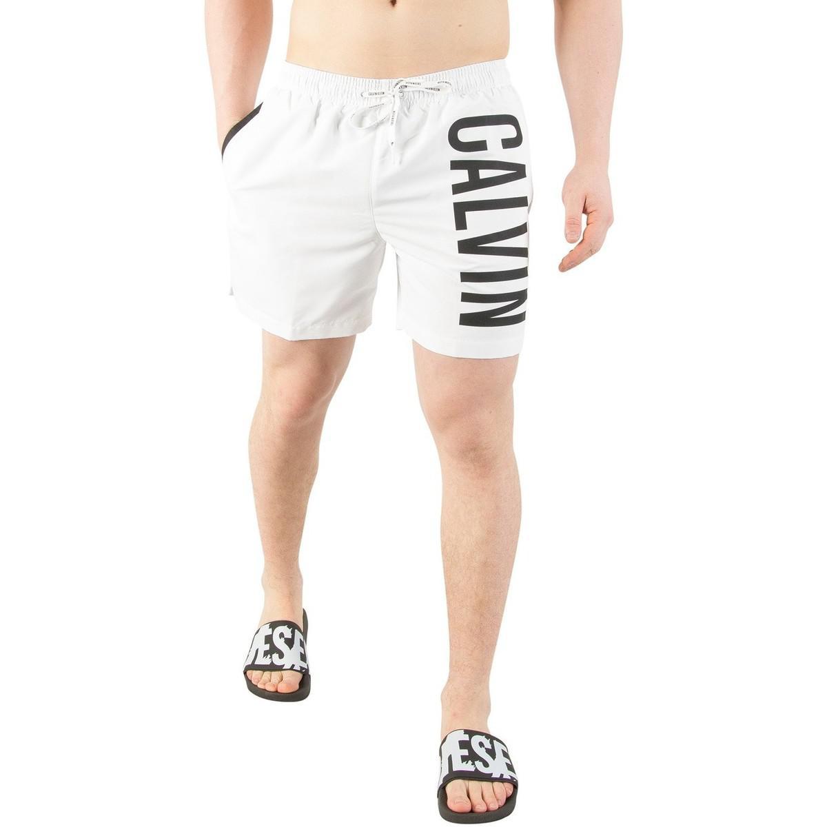 396def6068 Calvin Klein Jeans Men's Medium Drawstring Swimshorts, White Men's ...