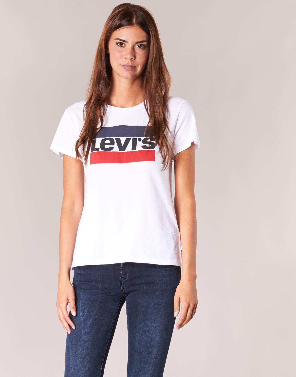 d56f2ce6 Levi's Levi's(r) Plus Perfect Tee W/o Pocket (batwing Black) Women's T Shirt  in White - Save 48% - Lyst