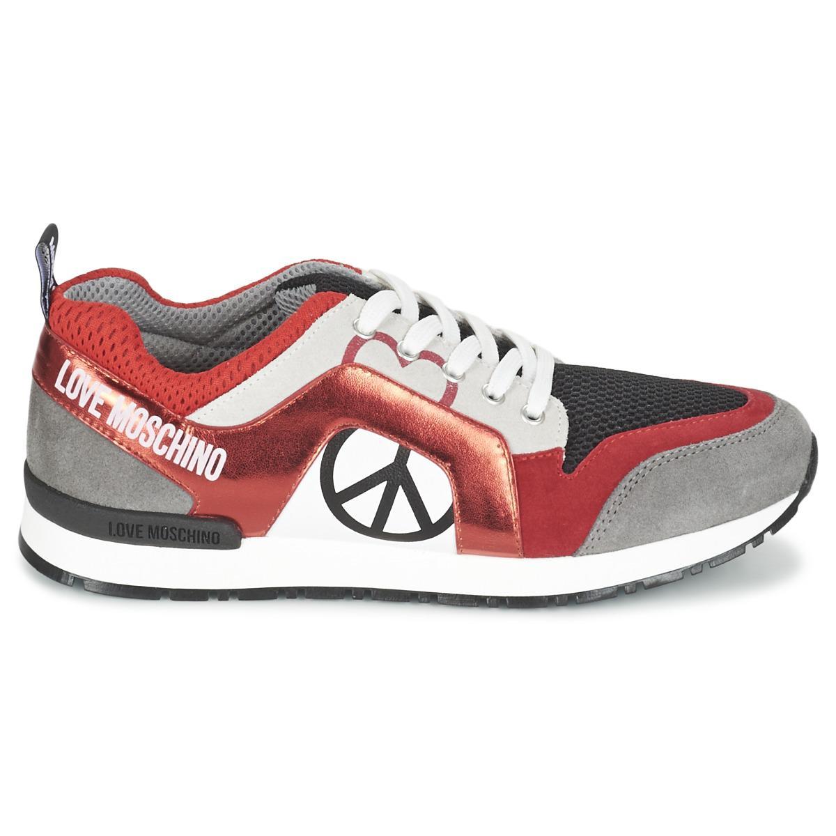 Runner Trainer - Grey/red Love Moschino HQGlZa5rI