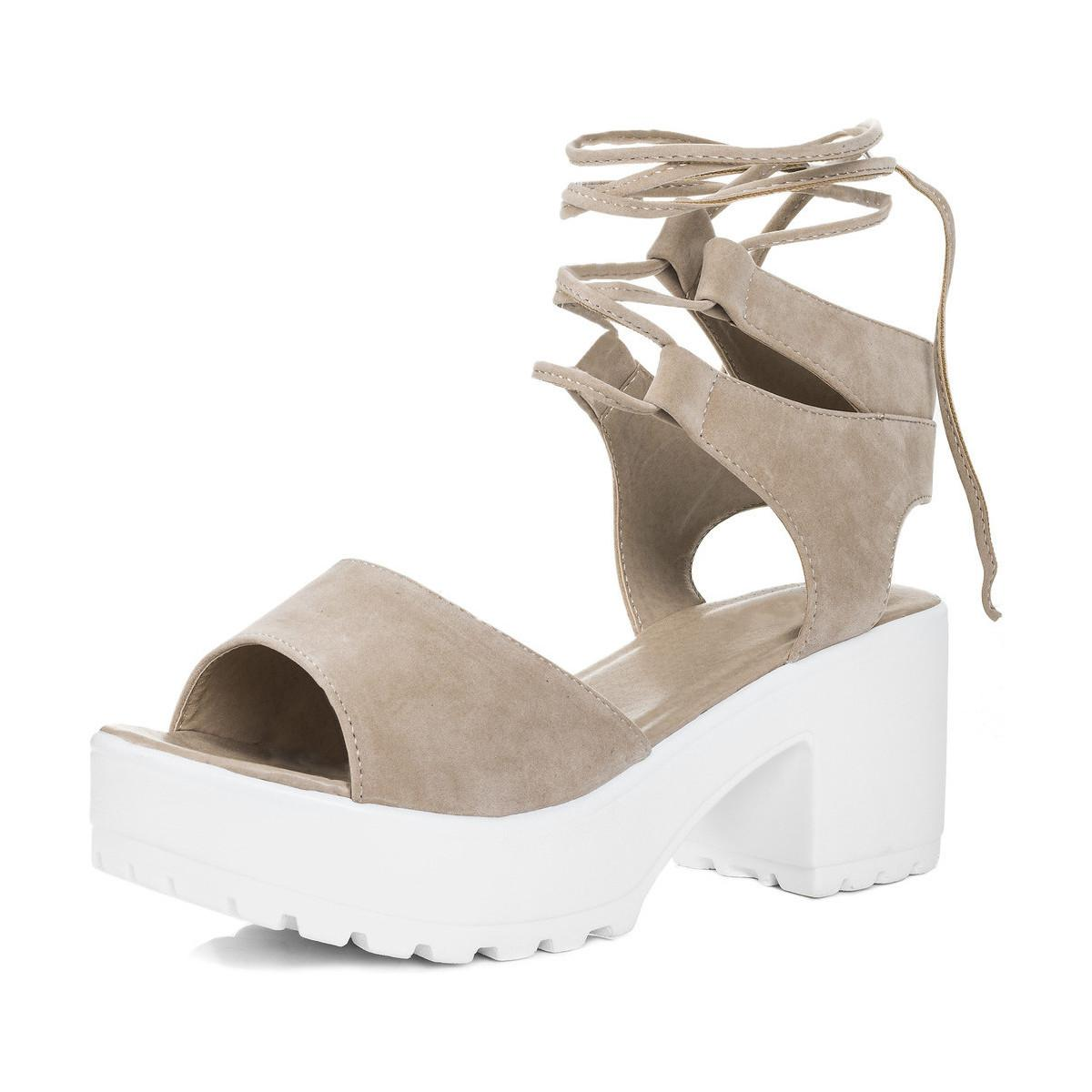 e7afdbbe11 SPYLOVEBUY. Molly Open Peep Toe Mid Heel Sandals Shoes - Nude Suede Style  ...