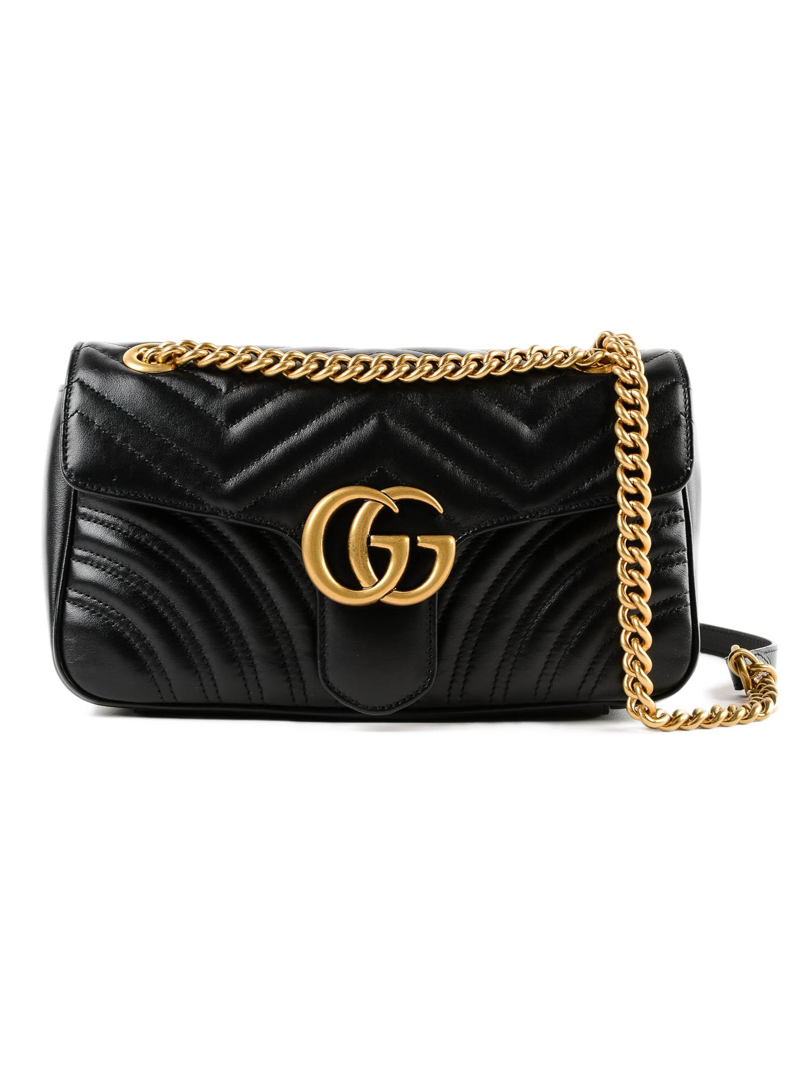 42ecd6f04689 Lyst - Gucci W Gg Marmont 2.0 Bag in Black