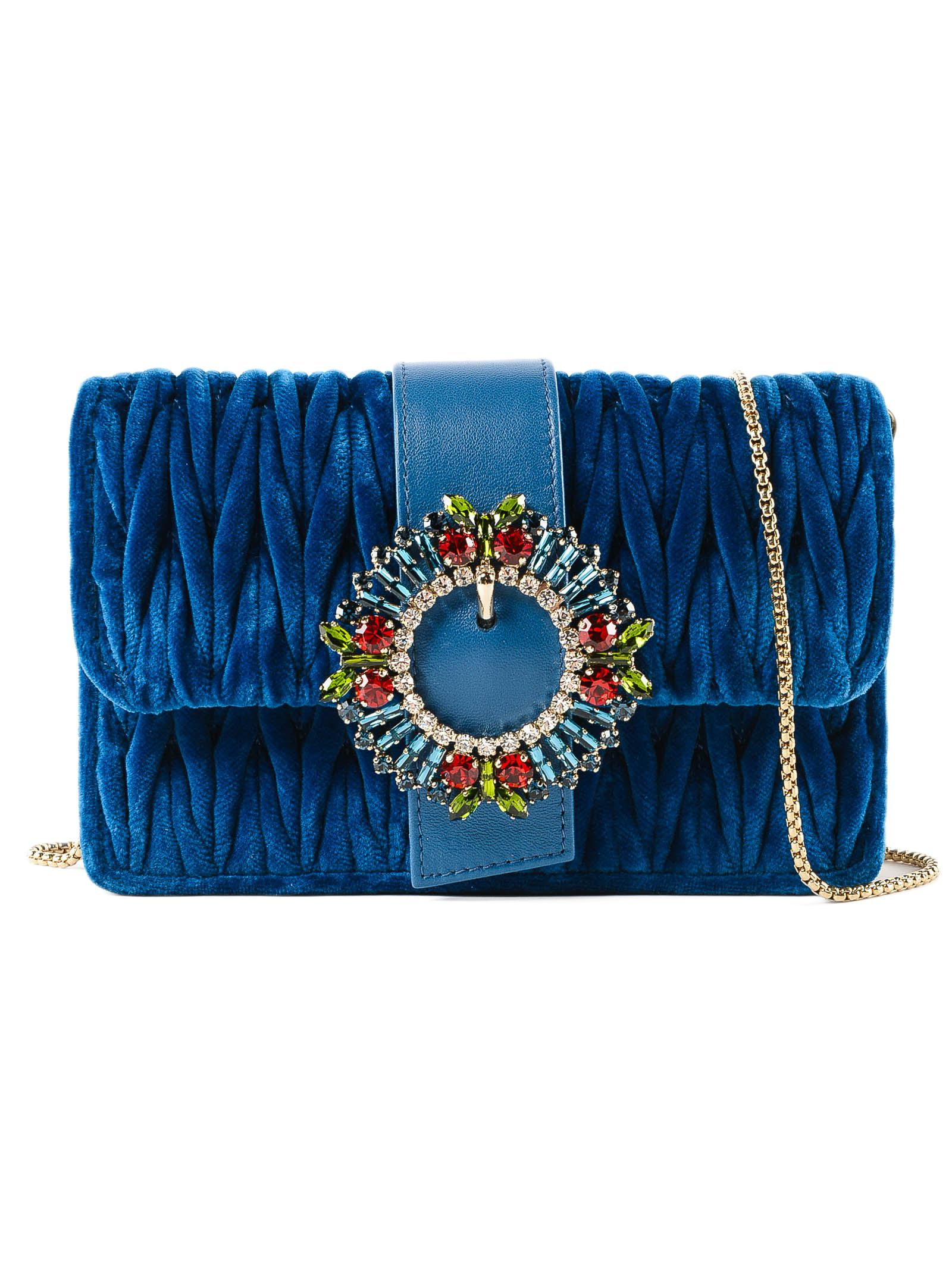 e715d8e287df Lyst - Miu Miu Velvet Crossbody Bag in Blue