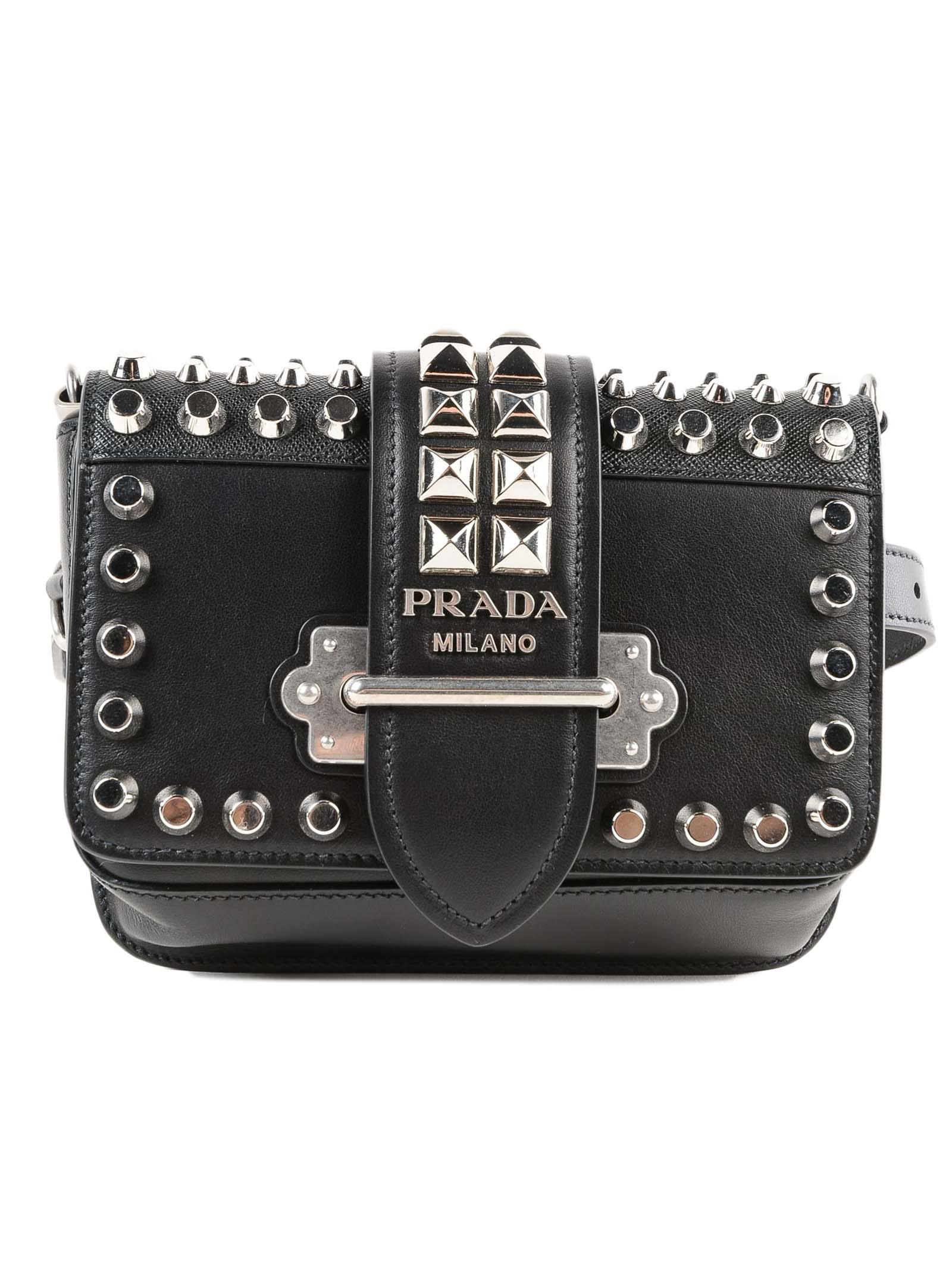 180390057e12 Lyst - Prada Cahier Belt Bag in Black