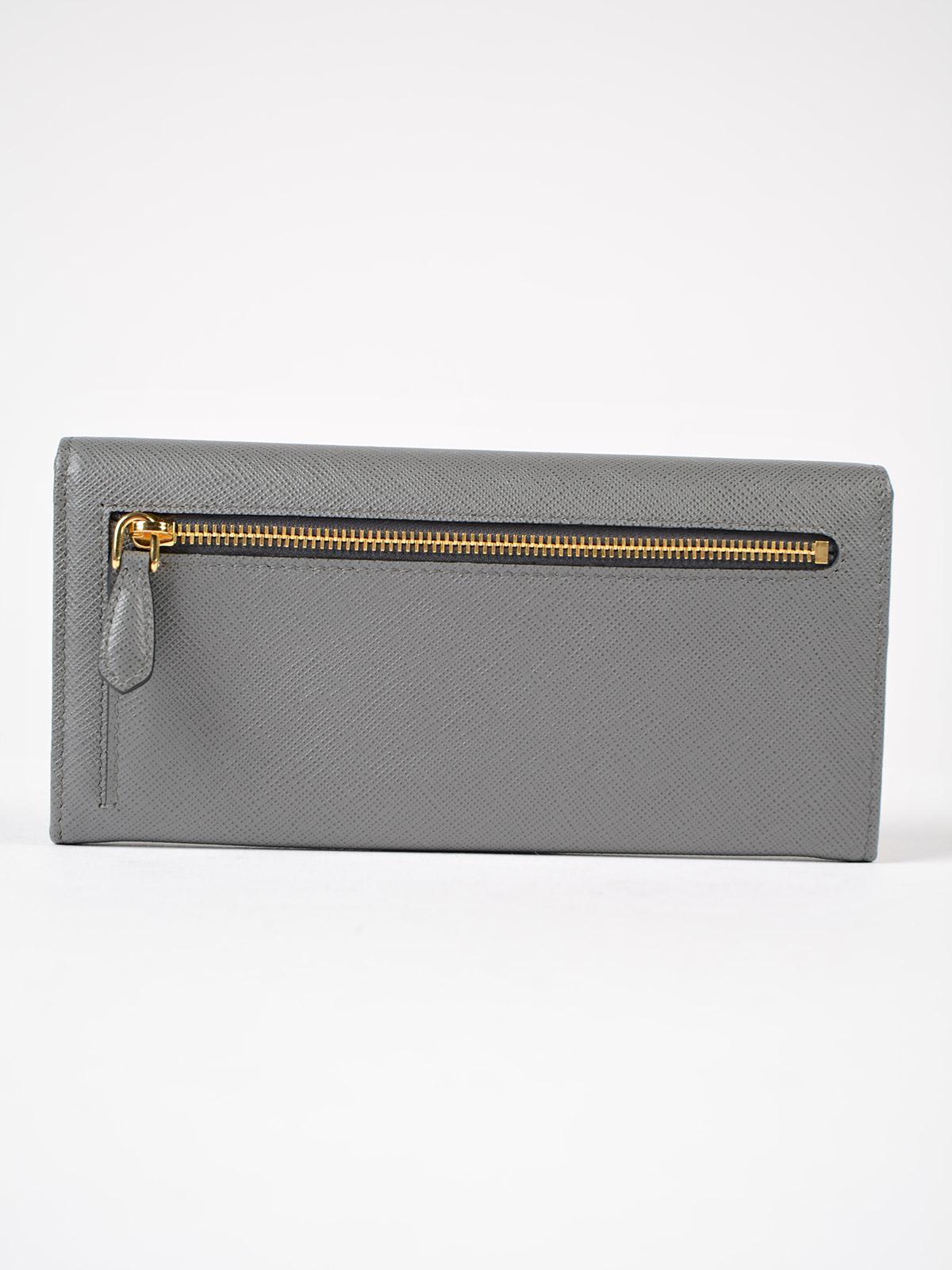 c99395084a83 Prada Saffiano Multicolor Wallet in Gray - Lyst