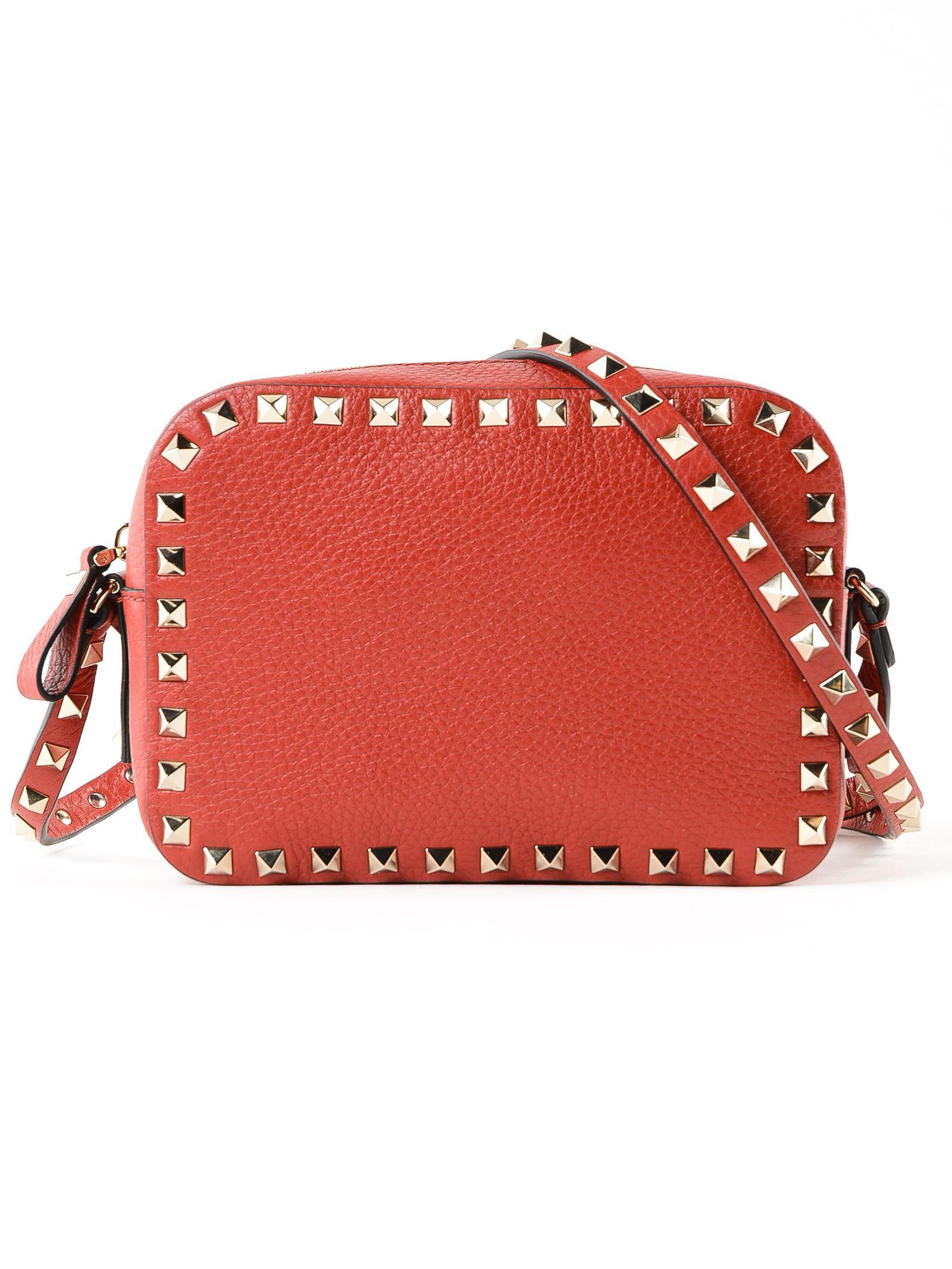 45c9f3e2dd21 Valentino Rockstud Crossbody Bag in Red - Lyst