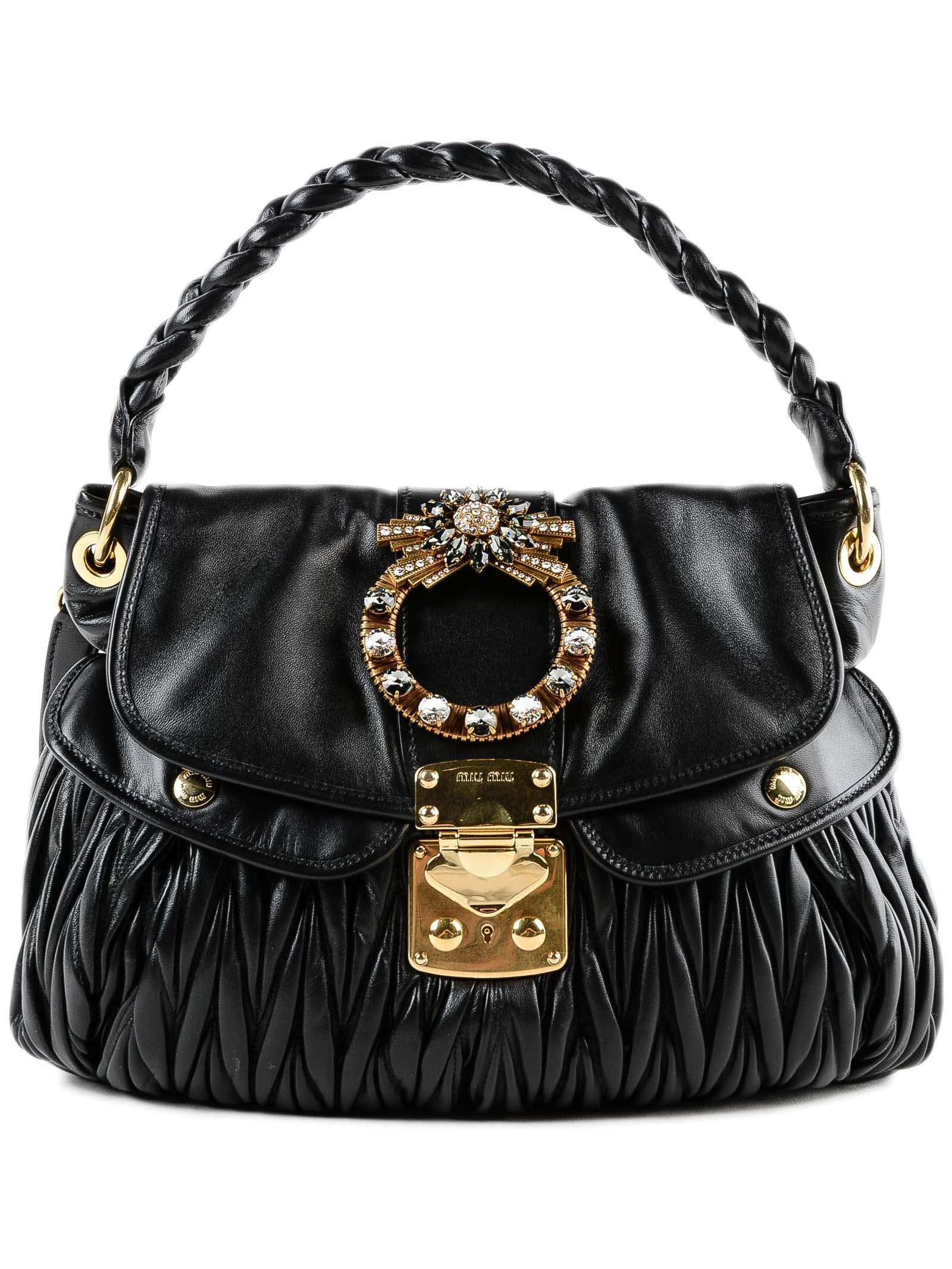 62b14c71a36a Miu Miu Matelasse Shopping Bag in Black - Lyst