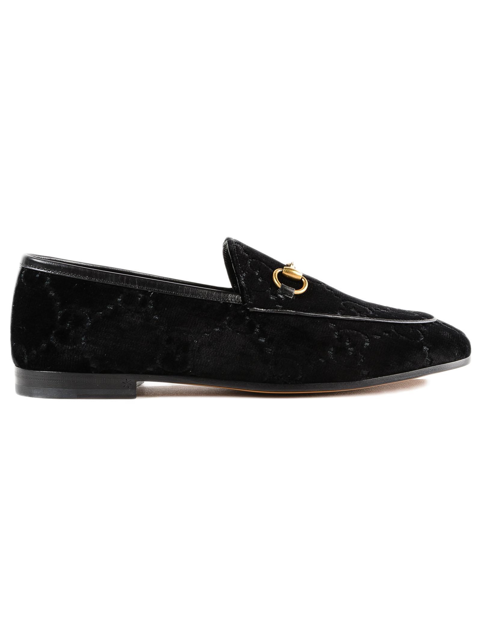 54f578f26ef Lyst - Gucci Jordaan Velvet Loafer in Black