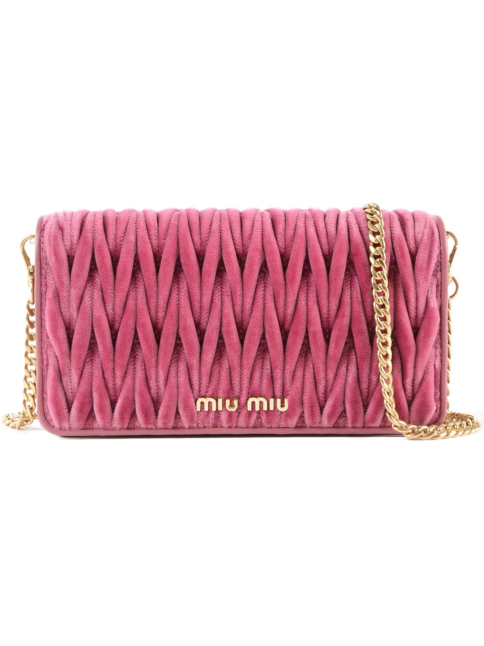 25aa2df3fa93 Miu Miu - Pink Velvet Matelasse` Mini Crossbody - Lyst. View fullscreen