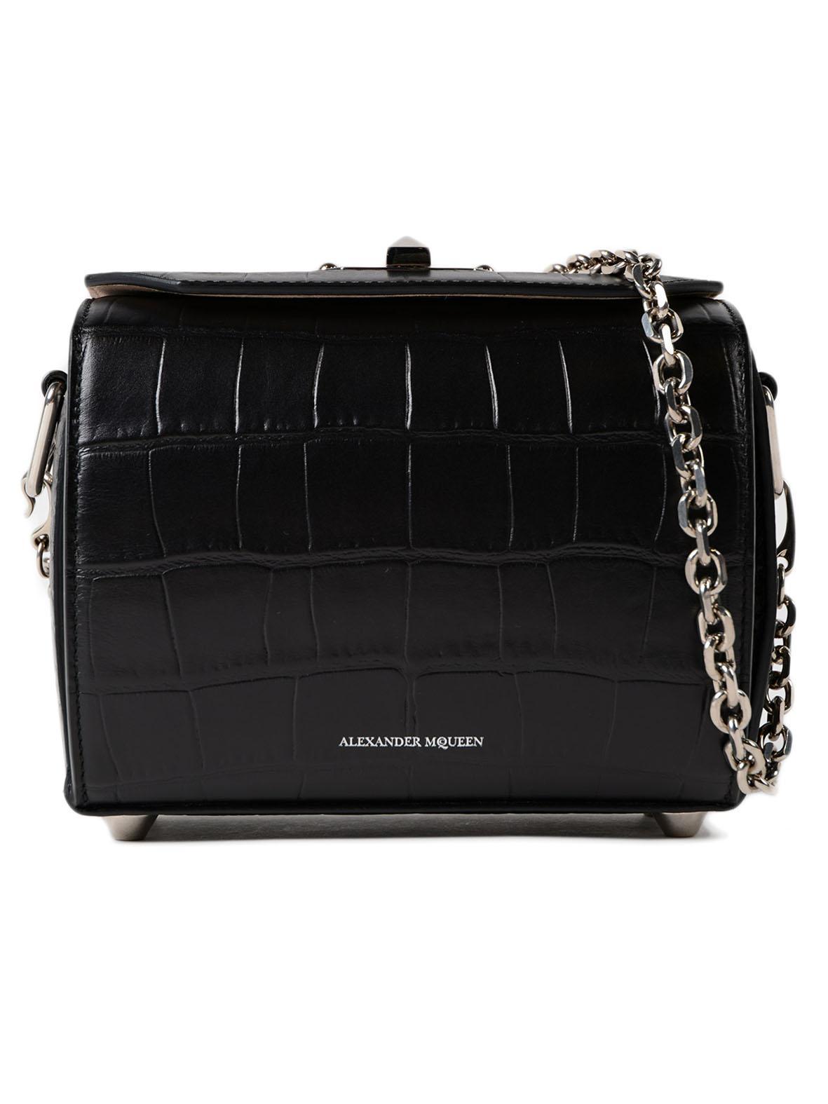 Alexander McQueen Box Bag 19 black evening bag q0D2fBQg