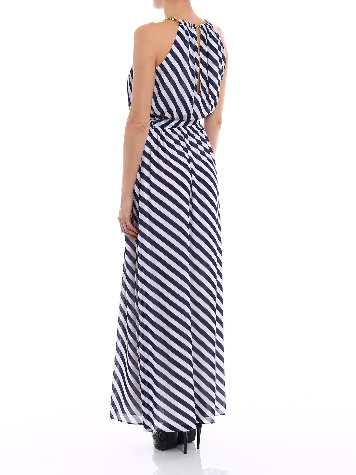 011713992c Lyst - Michael Kors Chain Neck Maxi Dress in Blue