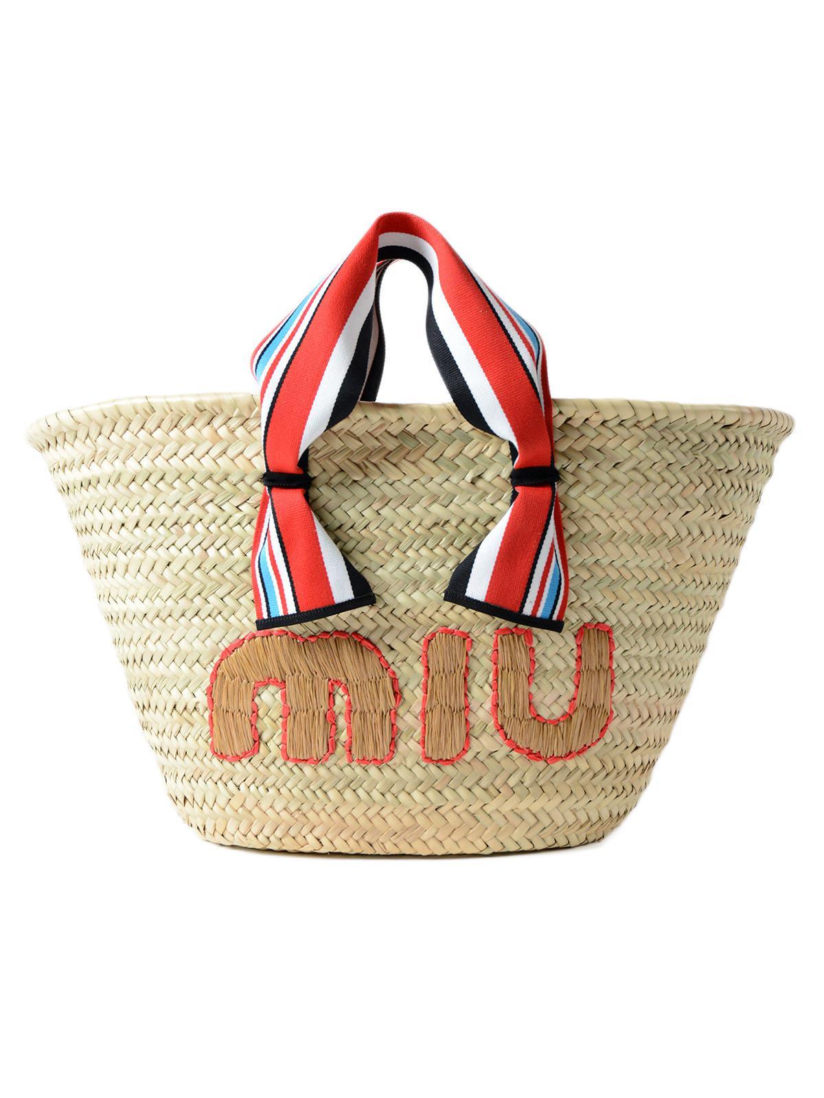 Embroidered straw shoulder bag Miu Miu kok35i7