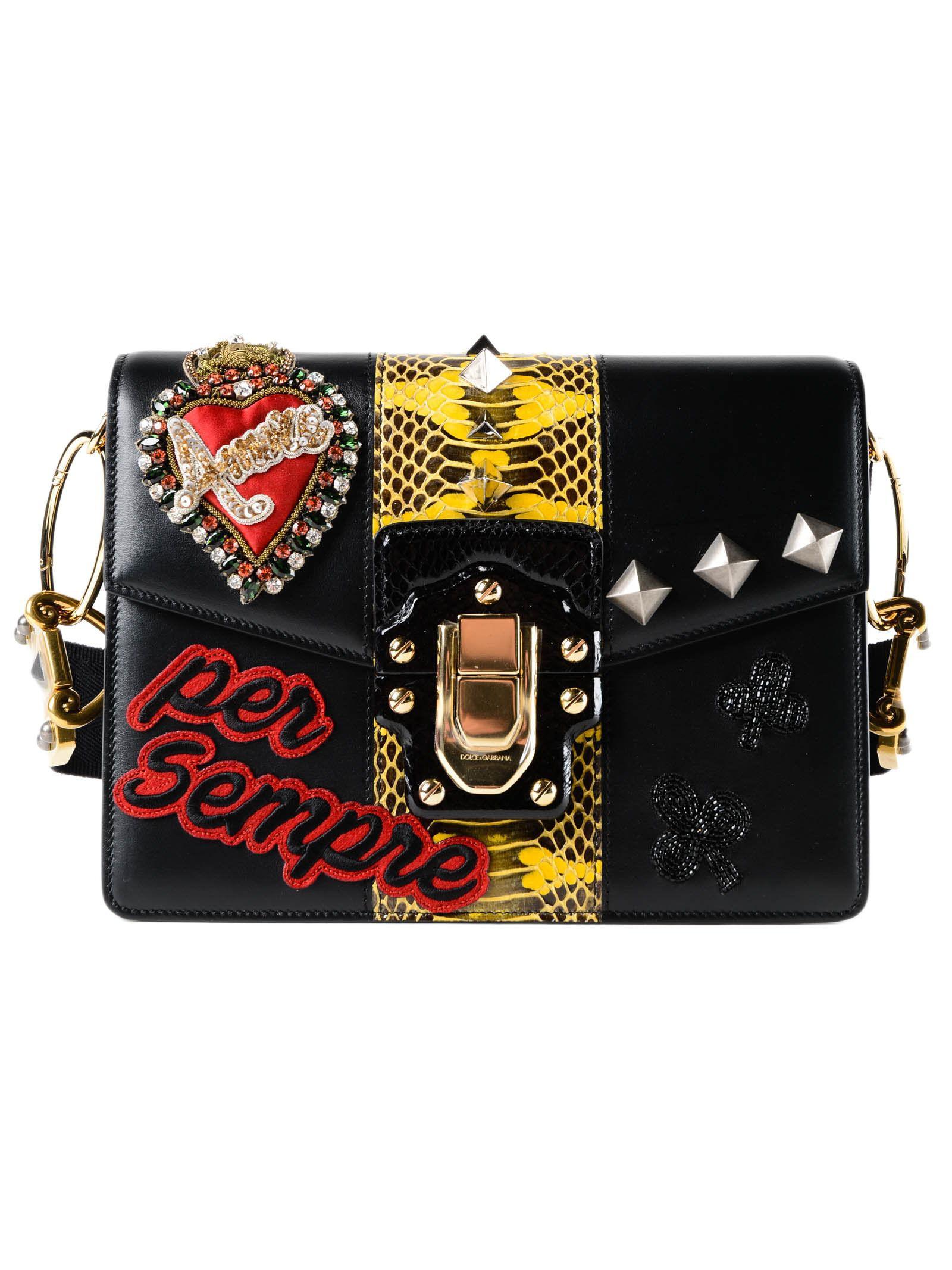 c8e152e89c Dolce   Gabbana Calfskin Printed Shoulder Bag - Lyst