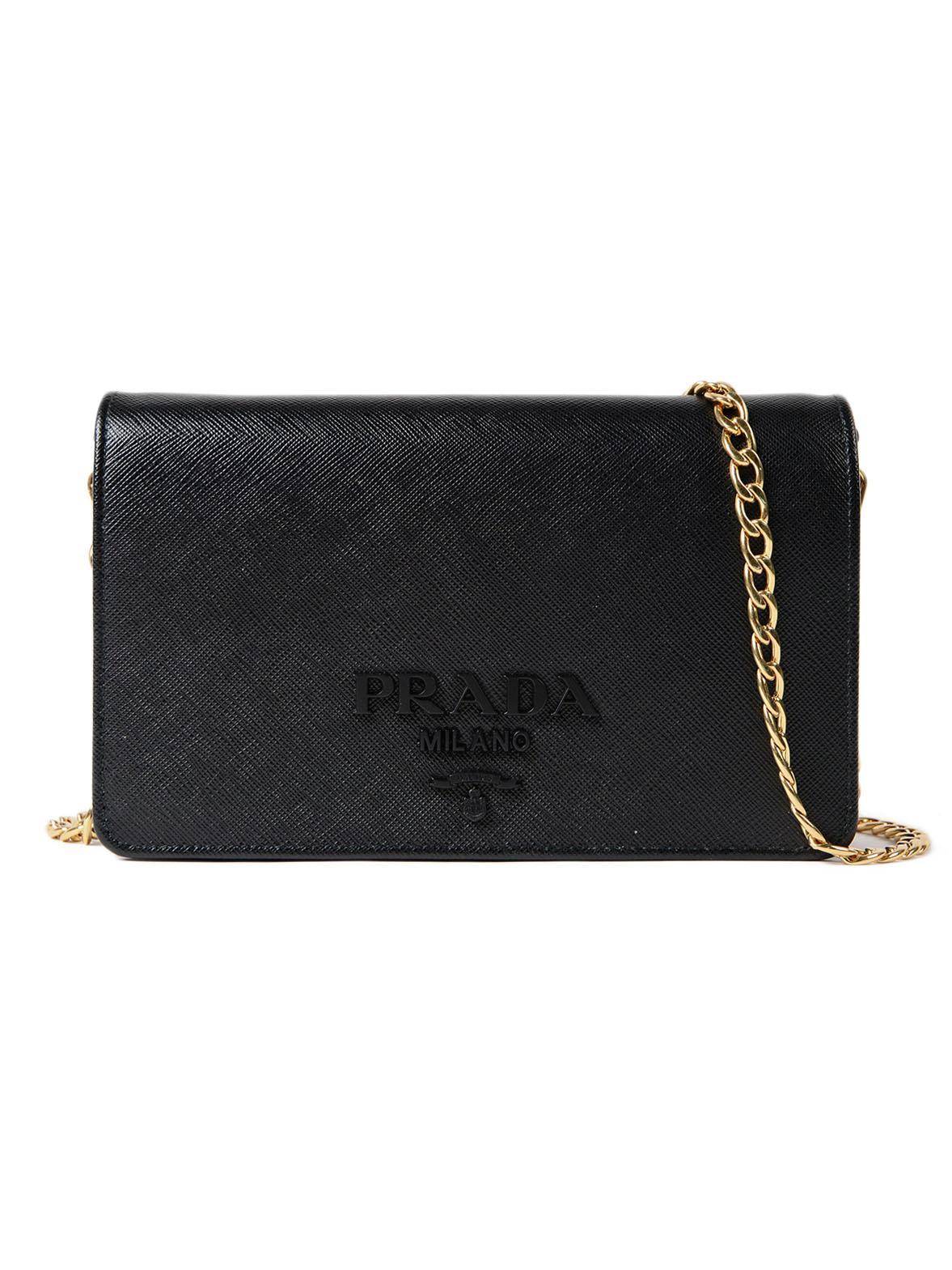 5c667db717bc Prada Saffiano Lux Wallet Bag in Black - Lyst