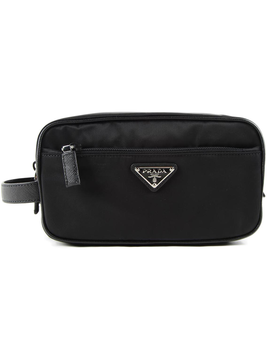 24eb8bda6b50 Prada - Black Pouch Tessuto+saffiano for Men - Lyst. View fullscreen