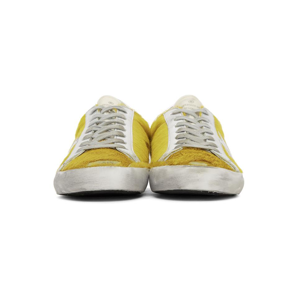 Golden Goose Yellow & Silver Calf Hair Superstar Sneakers Oj6khc
