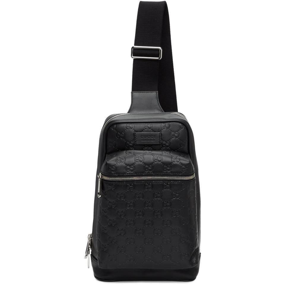 1317a491ae9 Lyst - Gucci Black GG Single Strap Backpack in Black for Men