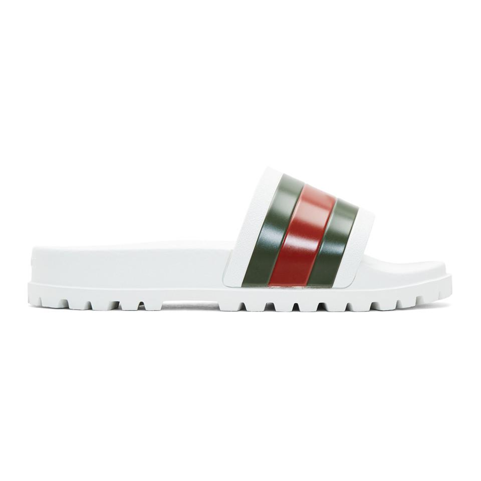 333348e871f39 Lyst - Gucci Web Slide Sandal in White for Men - Save 22%