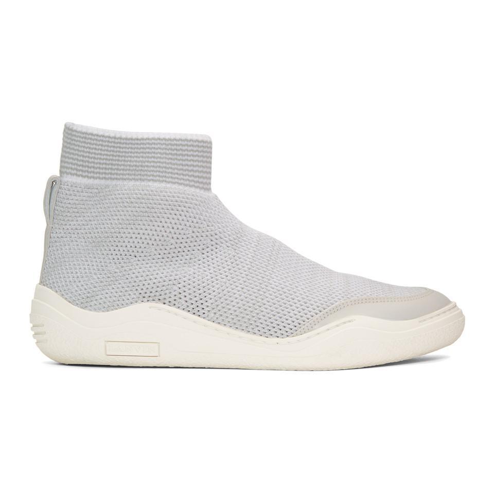 Lanvin Grey & Knit High-Top Sneakers A686W