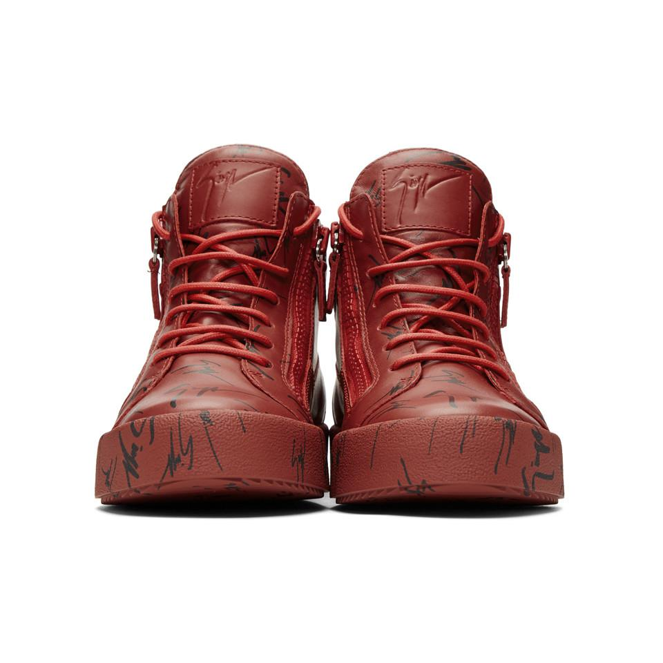 Lyst - Baskets montantes rouges May London Giuseppe Zanotti pour ... 452141794a01