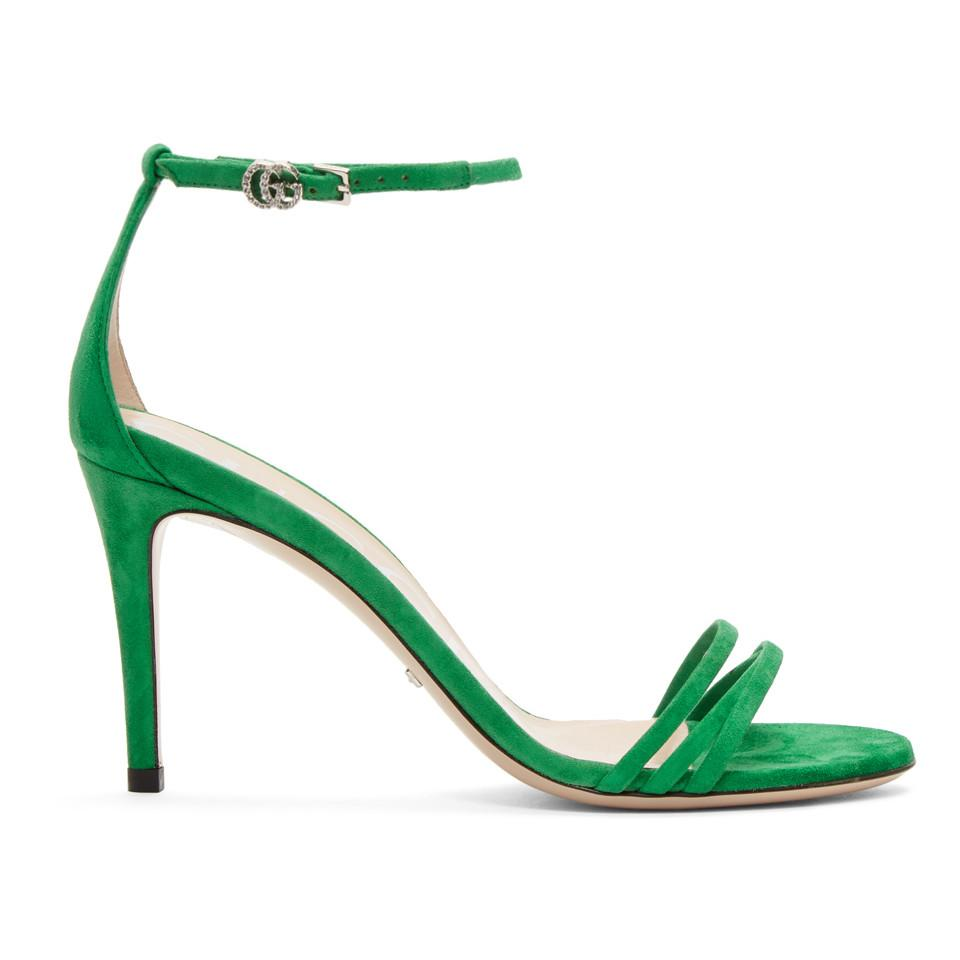 d83d86bc4c47 Lyst - Gucci Green Suede Isle Heeled Sandals in Green