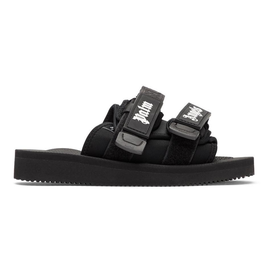 02e390ddf02c Palm Angels Black Suicoke Edition Nylon Slides in Black - Lyst