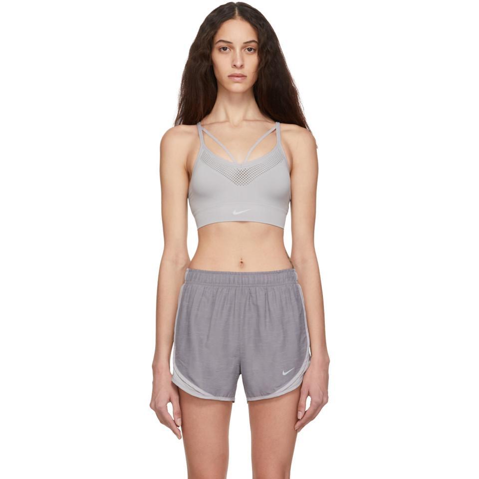 9086c2d75f7 Lyst - Nike Grey Seamless Light Sports Bra in Gray