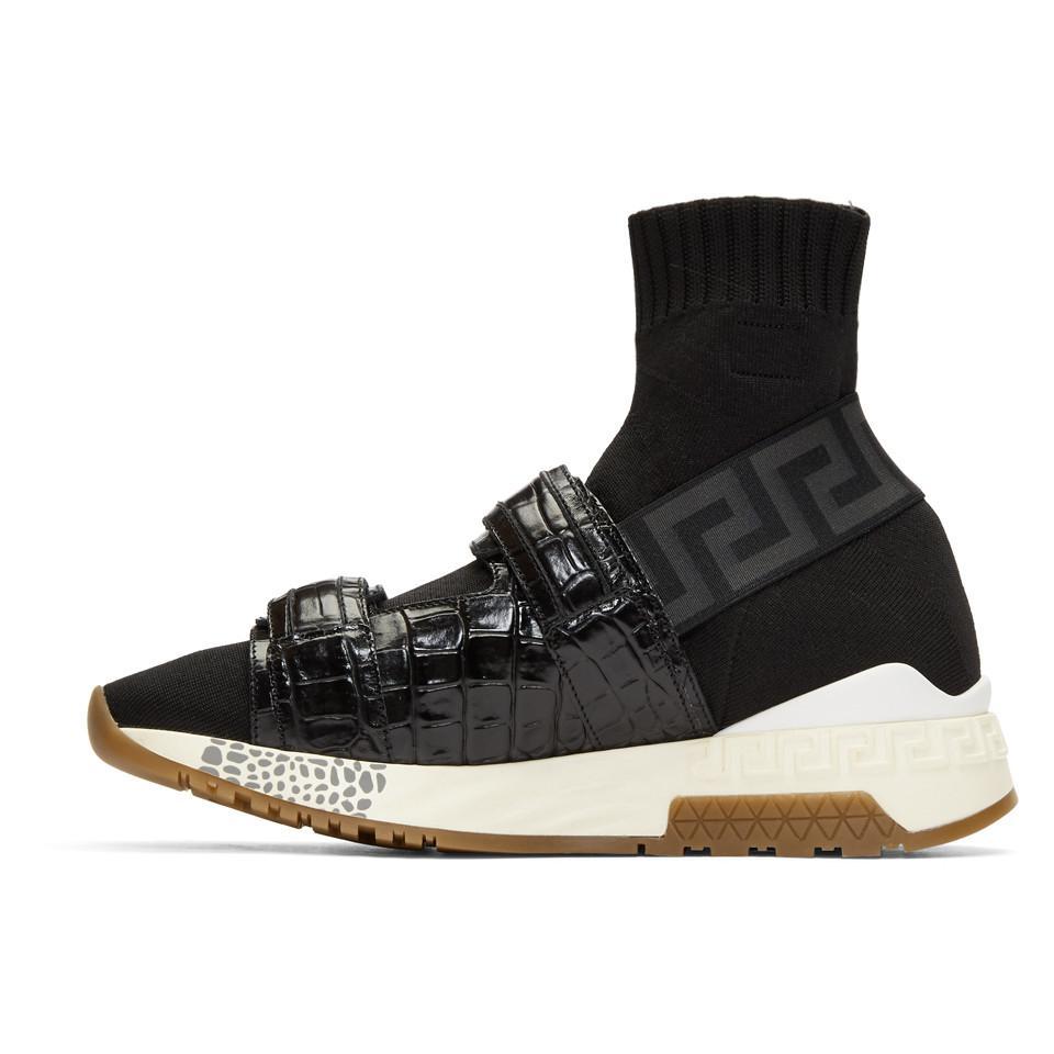 Black Croc Medusa Sock High-Top Sneakers Versace kg0CkyY541