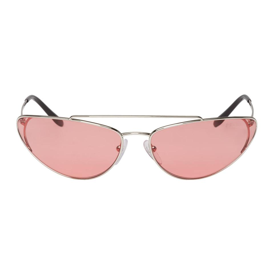 09d970e2e3d89 Lyst - Prada Silver And Pink Metal Oval Sunglasses in Pink