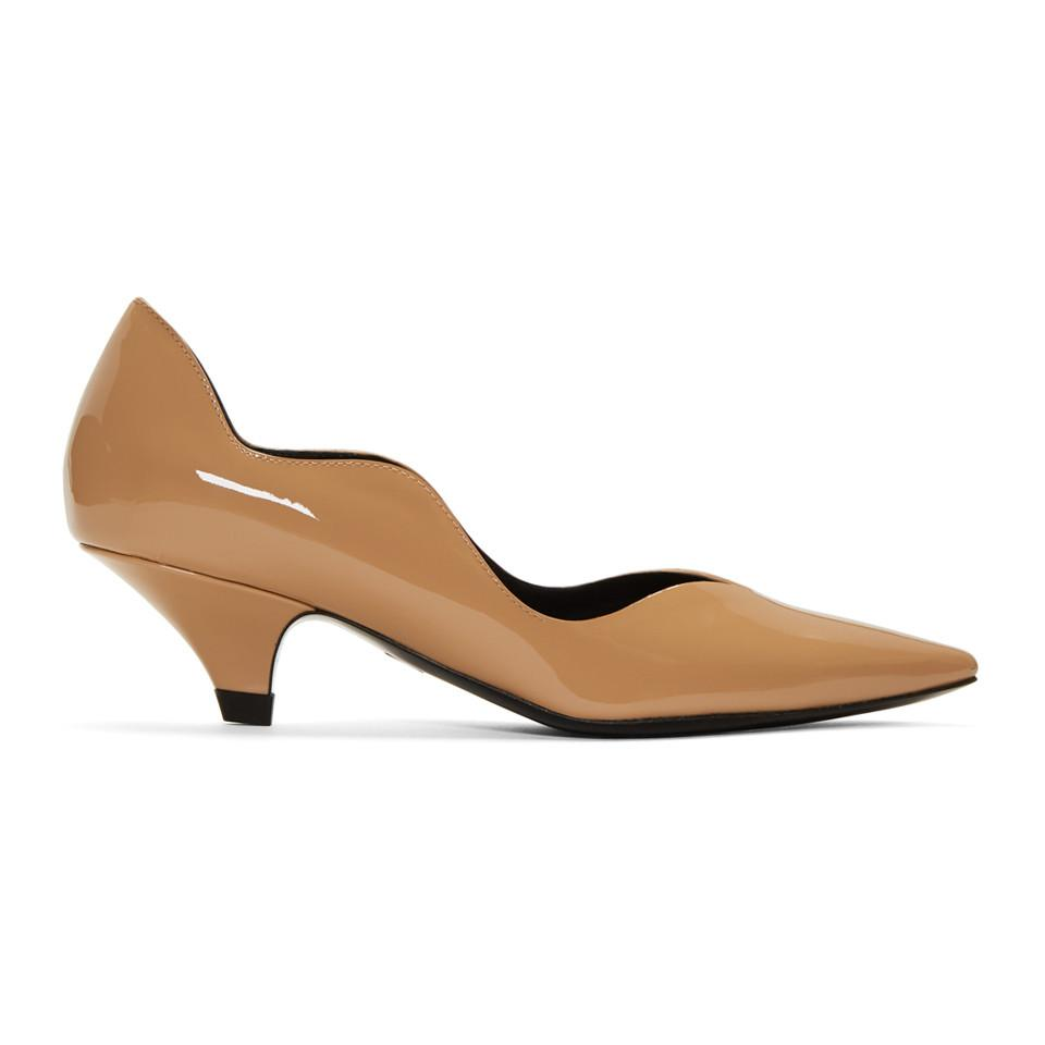 ac7f4f853c3 Proenza Schouler Pink Patent Offset Wave Kitten Heels in Red - Lyst