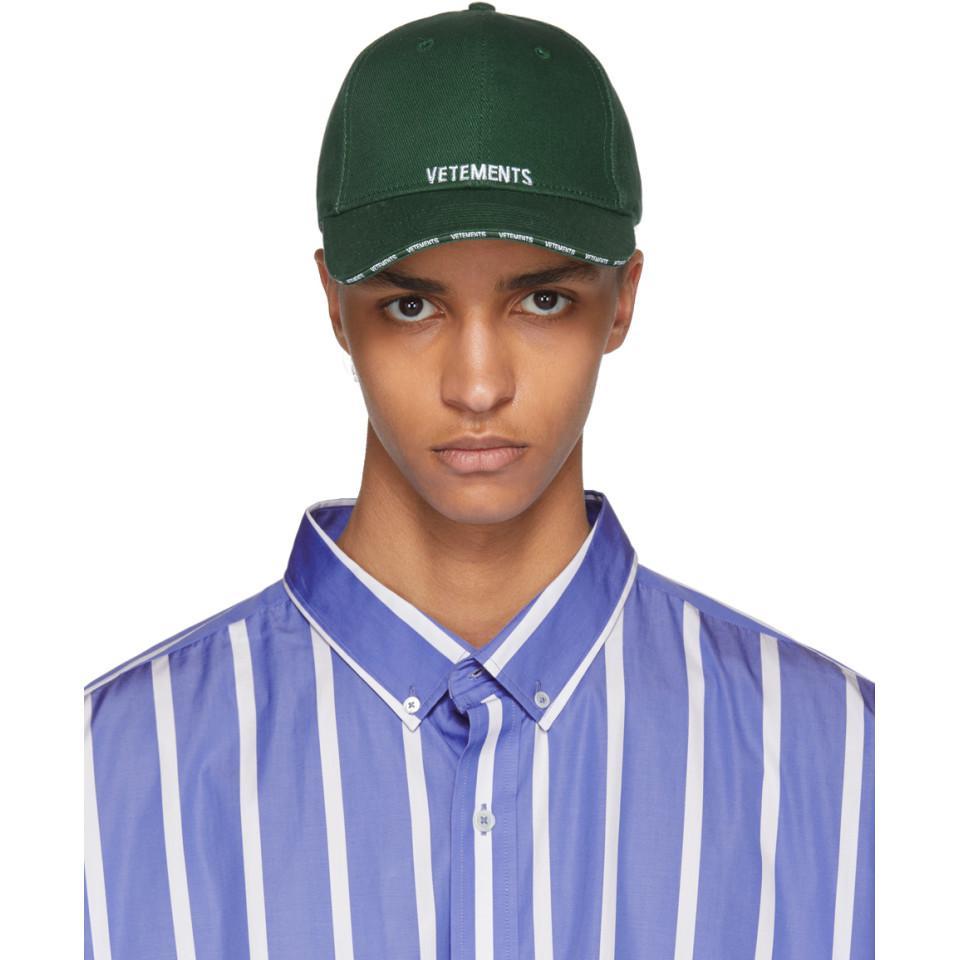 73eb384e0deac5 Vetements Green Logo Baseball Cap in Green for Men - Lyst