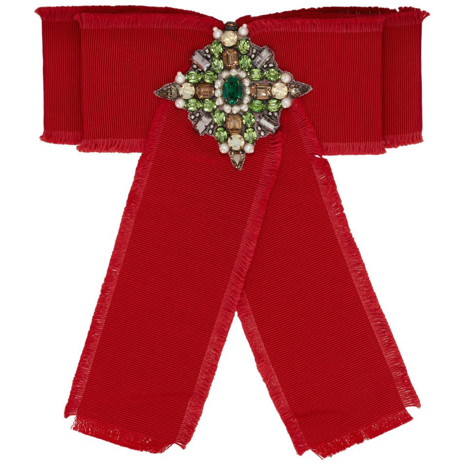 1f81fc5018d Gucci Red Ribbon Brooch in Red - Save 7.936507936507937% - Lyst
