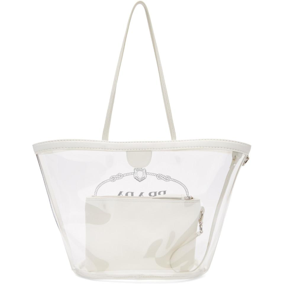 ee0380e44db2 Prada Transparent And White Pvc Tote in White - Lyst