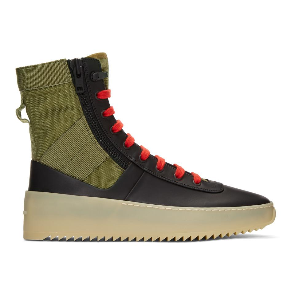 Black and Green Jungle High-Top Sneakers Fear of God QfD9Aa
