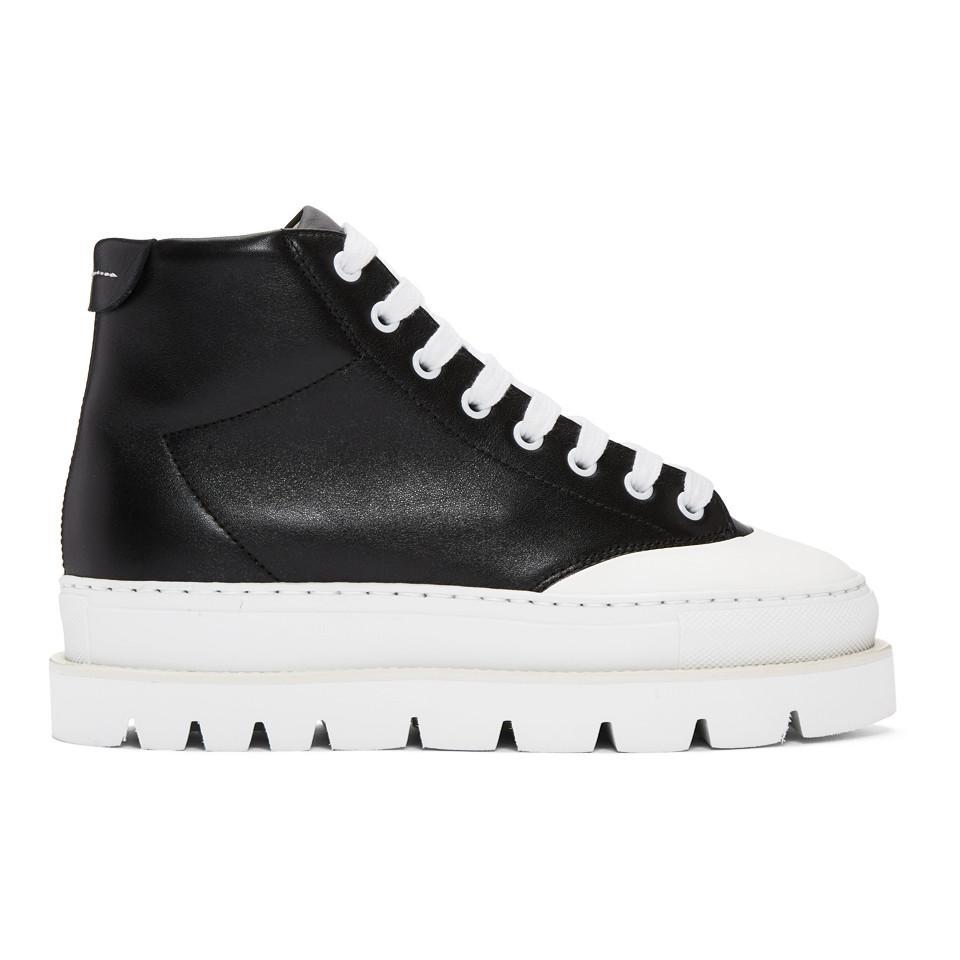 Maison Martin Margiela Black Leather Hiking Boots Nouvelle Remise NFllt8OC