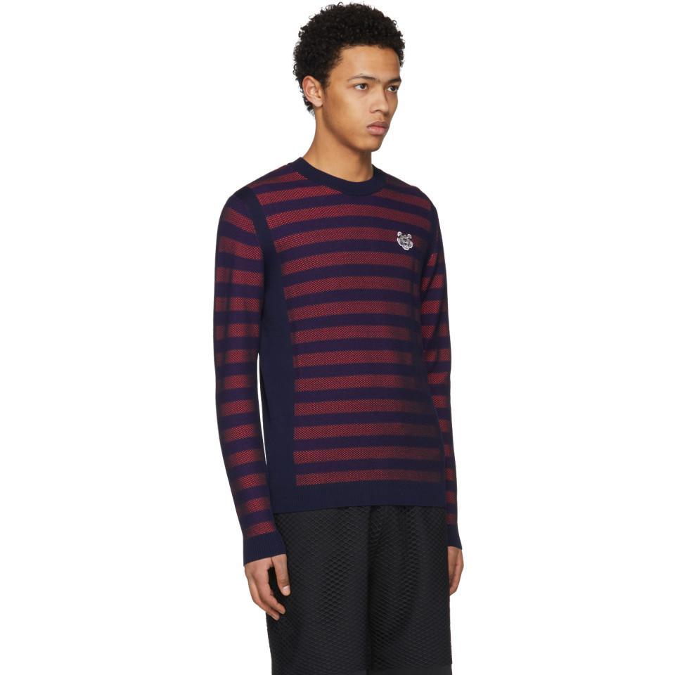 639534536 Lyst - KENZO Orange And Purple Striped Mesh Tiger Sweater in Purple ...