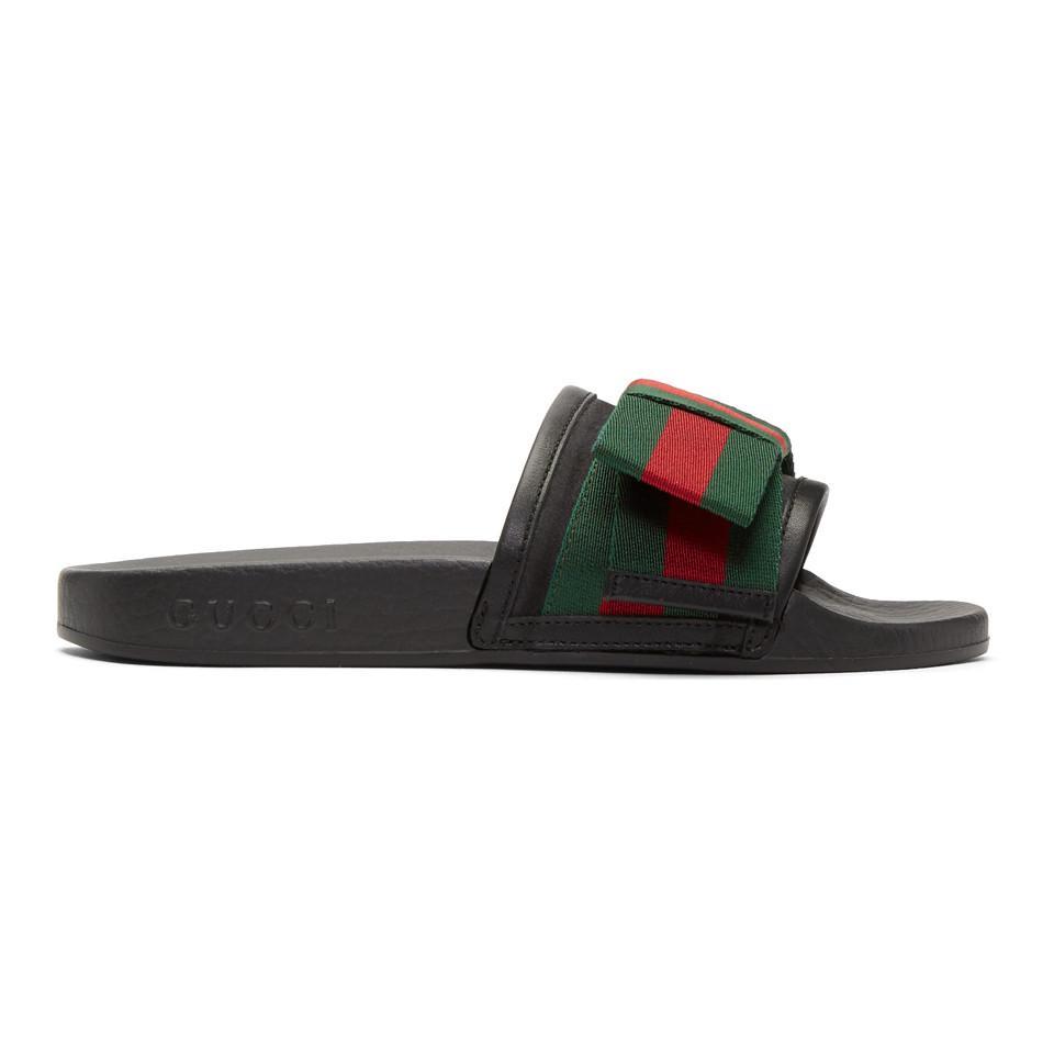 f8da3cca1 Gucci Black Bow Pool Slides in Black - Save 22% - Lyst
