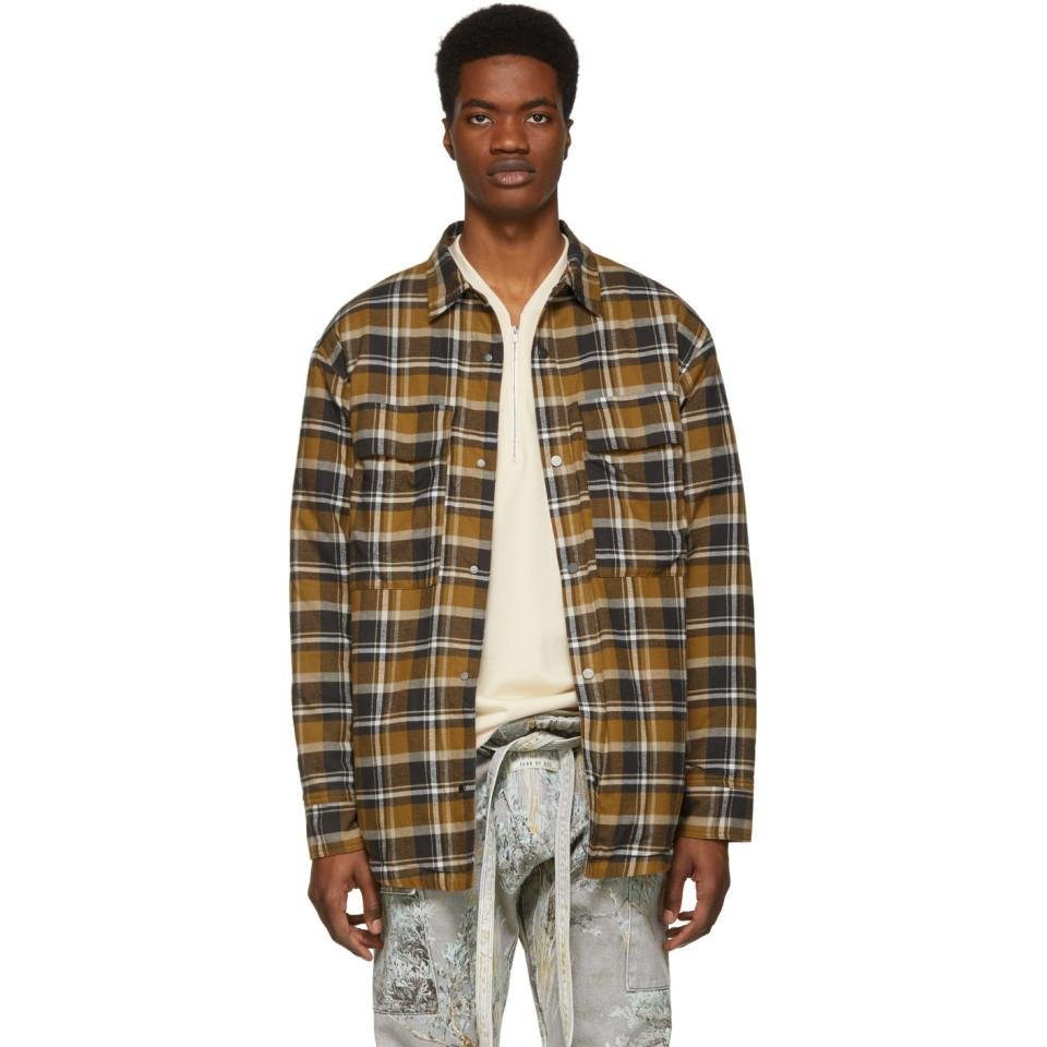 3446d3a394 Lyst - Fear Of God Brown Plaid Flannel Shirt Jacket for Men