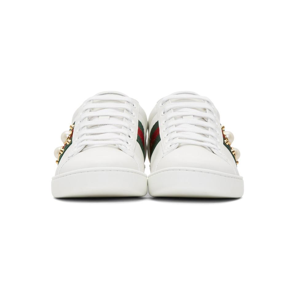 0e18b8cce5a Gucci - White Pearl Stud New Ace Sneakers - Lyst. View fullscreen