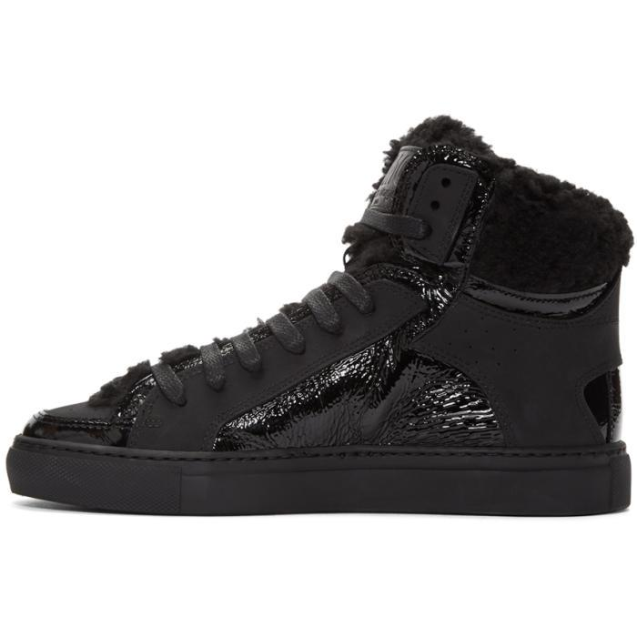 Maison Margiela Black Shearling May London High-Top Sneakers