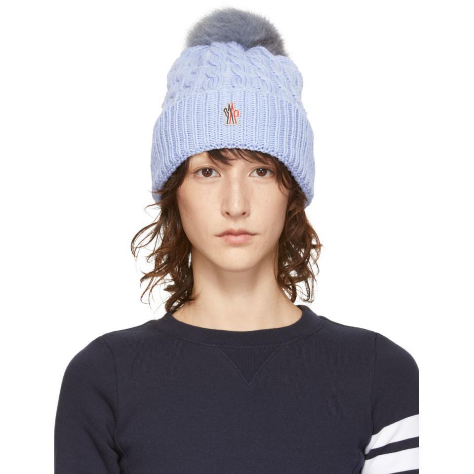 2133e1657b6 Lyst - Moncler Grenoble Blue Fur Pom Pom Beanie in Blue